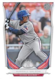 Russell Wilson's Rangers baseball card.